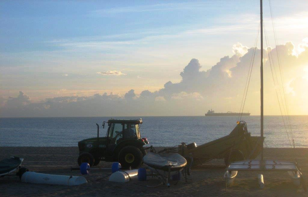 Beach Maintenance in the Early Morning