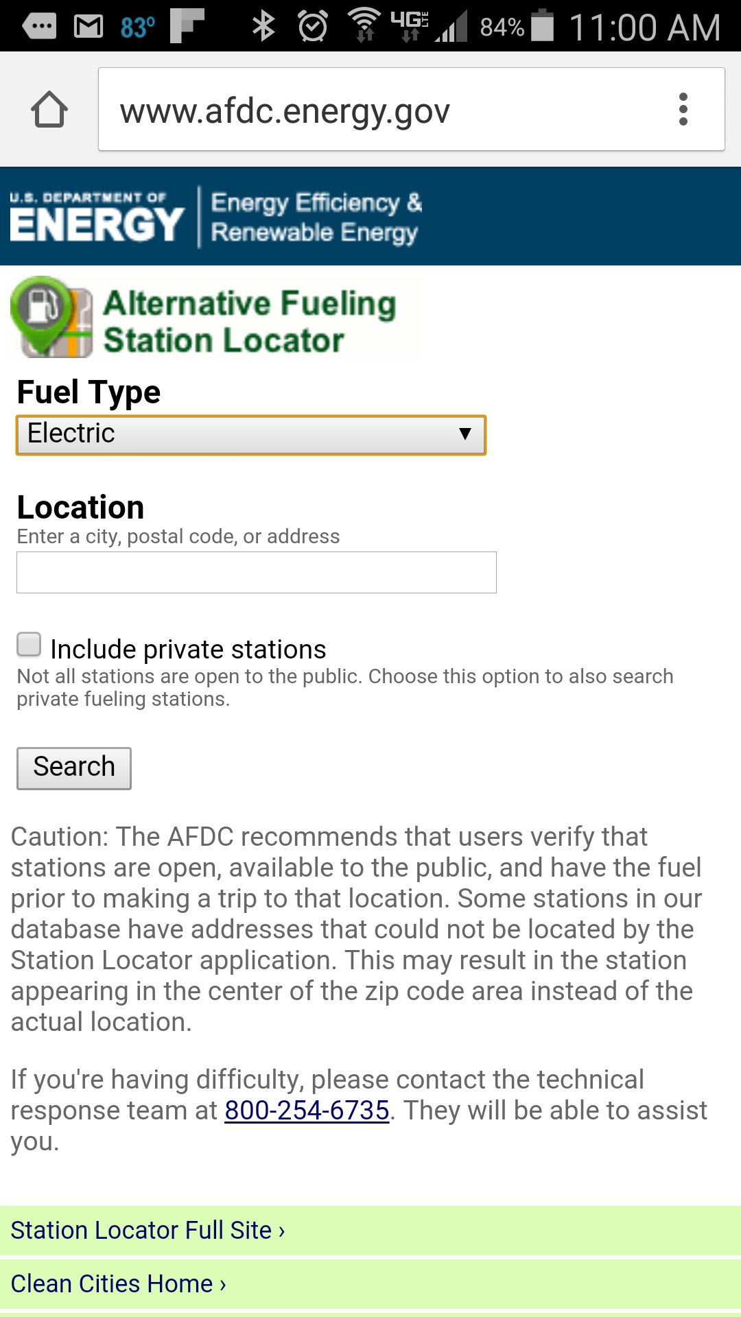 Alternative Fueling Locator