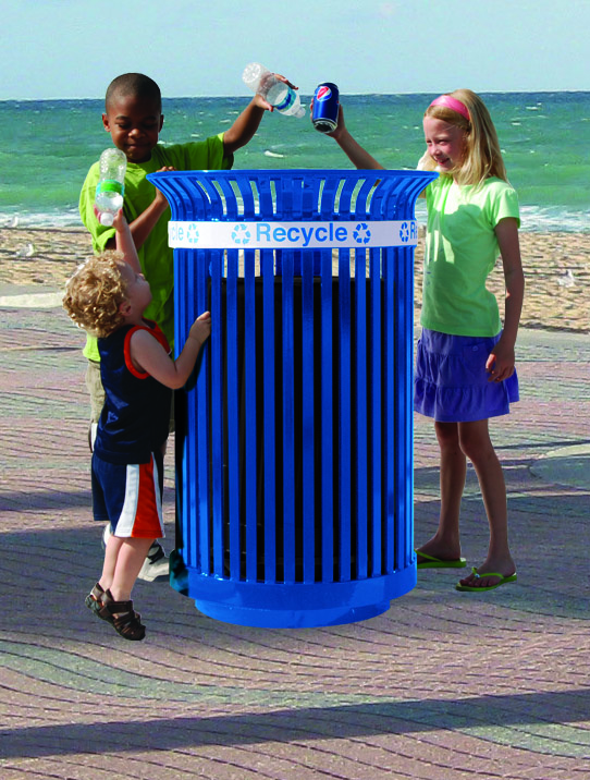 Kids recycling on beach