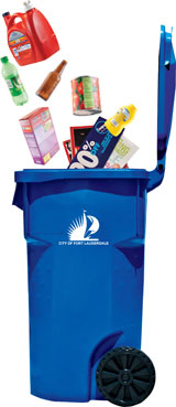 Blue Cart with Recyclables Graphic