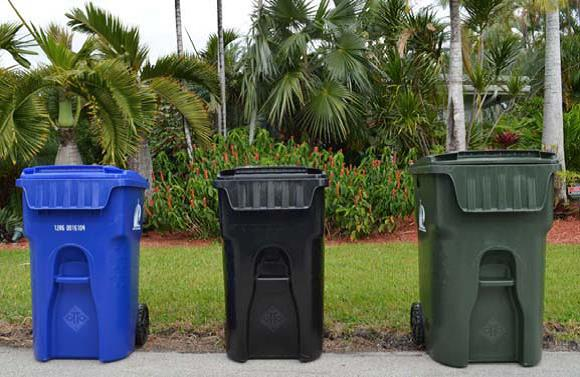 Solid Waste Carts: Blue Recycling, Black Garbage, and Green Yard Waste